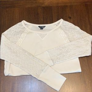 Lucky Brand   crochet sleeve thermal top